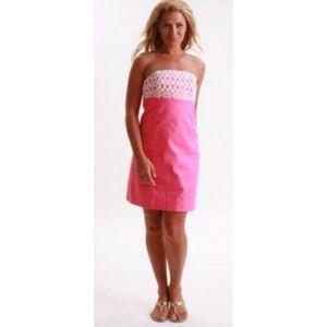 Lilly Pulitzer Hotty Pink Bowen Dress Bodice Lace
